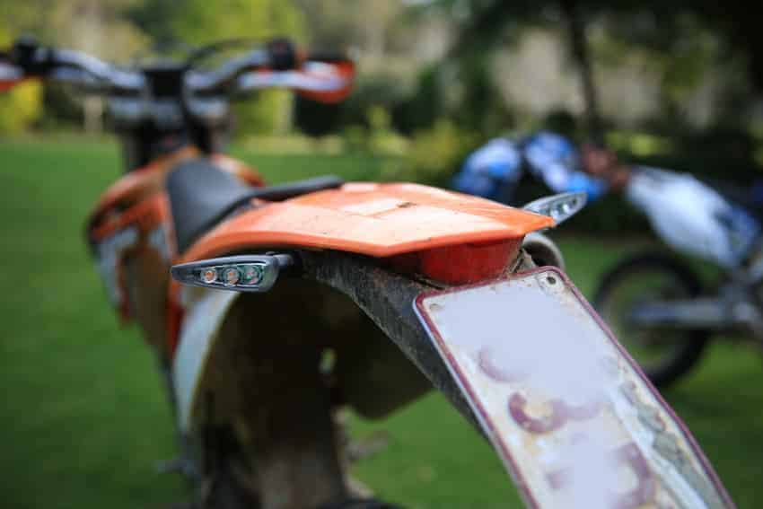 CLICKnRIDE installed on rear of enduro motorcycle